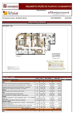 Exemplo de orçamento para empreendimento mobiliário
